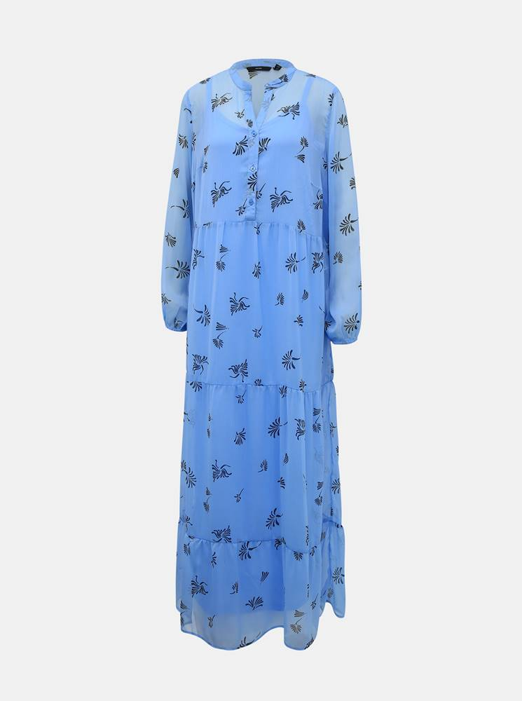 Vero Moda Modré kvetované maxišaty VERO MODA Lila