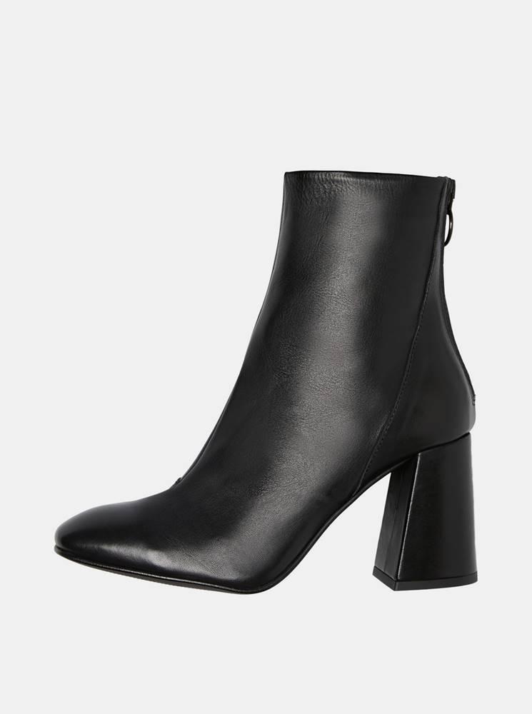 Vero Moda Čierne kožené členkové topánky VERO MODA Cilla