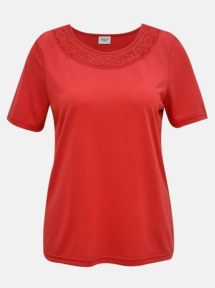 Jacqueline de Yong Červené tričko s krajkovým lemom Jacqueline de Yong Finja