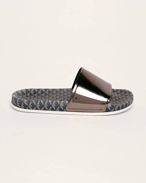 Strieborné sandále Emporio Armani