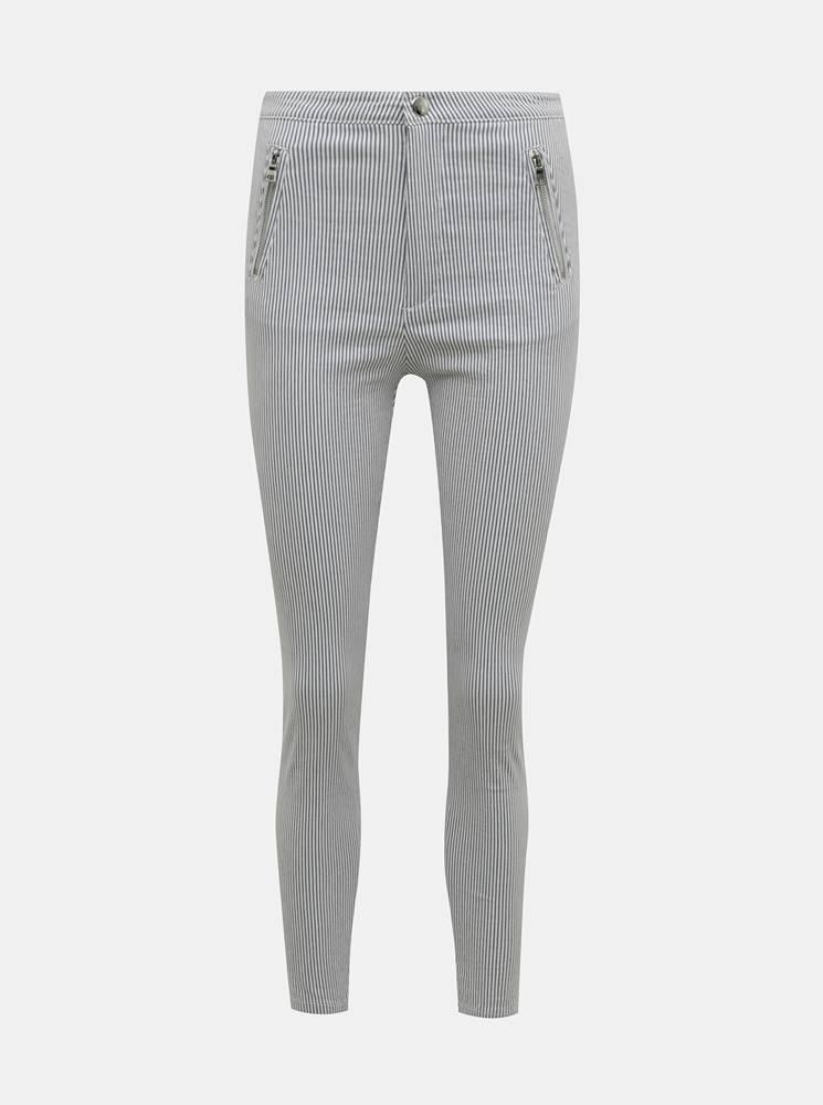 TALLY WEiJL Svetlošedé pruhované skinny fit nohavice TALLY WEiJL