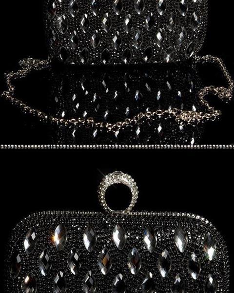 Dámska extravagantná kabelka s veľkými kamienkami Farba Čierna ... cb5357104e8