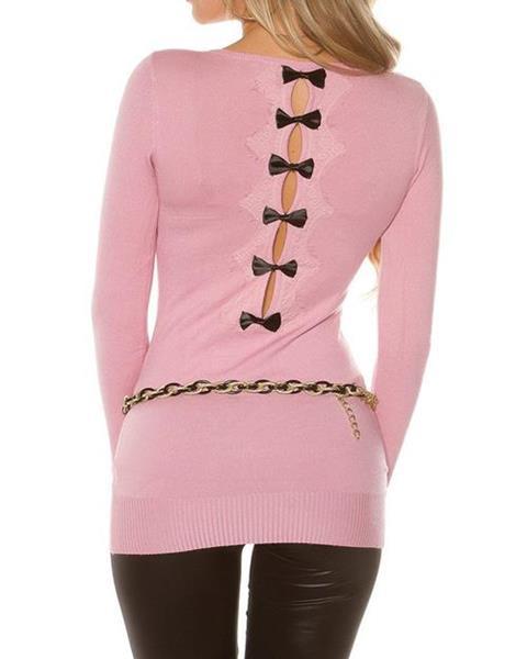 7d43f19a7918 Dámsky dlhý sveter s čiernymi mašličkami na zadnej strane značky KOUCLA