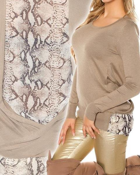 b1543002034d Dámsky sveter s haďou potlačou značky KOUCLA