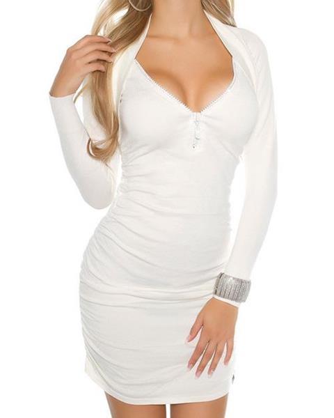 Sexy KouCla dámske pletené šaty so zipsom na dekolte značky KOUCLA 392af95d194