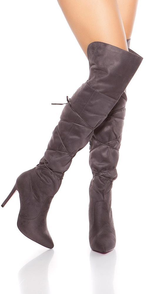 Dámske semišové čižmy - Vysoké nad kolená so šnúrkami značky IN-STYLE ce12d88a3d3