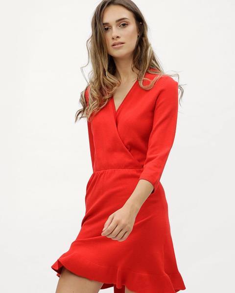 Červené svetrové šaty s prekladaným výstrihom Elsa značky ONLY 6b557b08b03