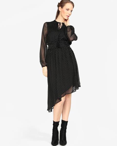 3bd2c512e8d ZĽAVA 50% na Čierne asymetrické šaty s dlhým rukávom VERO MODA Lotta ...