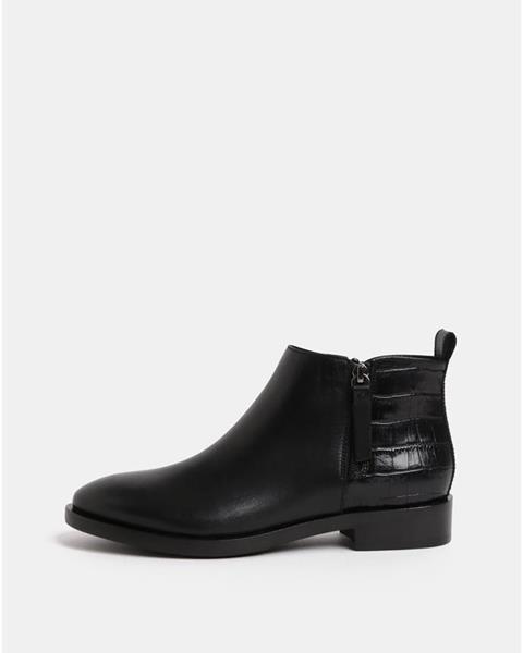 ZĽAVA 50% na Čierne dámske kožené členkové topánky so zipsmi Geox Brogue f7903ac1dd1
