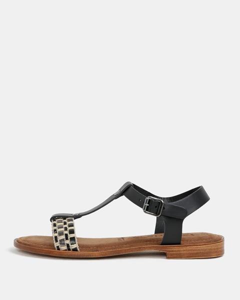 ZĽAVA 31% na Krémovo-čierne kožené sandále Tamaris 8ee8bf46924