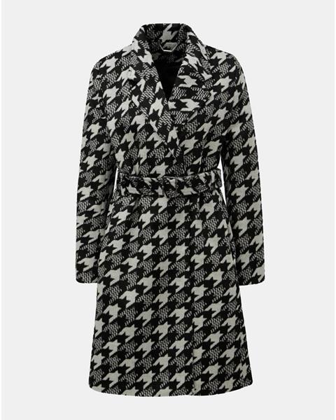ZĽAVA 50% na Krémovo–čierny vzorovaný kabát s prímesou vlny Smashed ... 56a8e2c0897