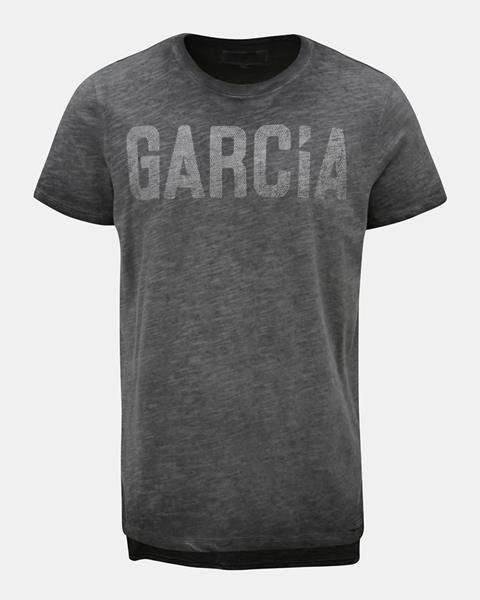 ZĽAVA 19% na Sivé melírované pánske tričko s potlačou Garcia Jeans 2d94887d06e
