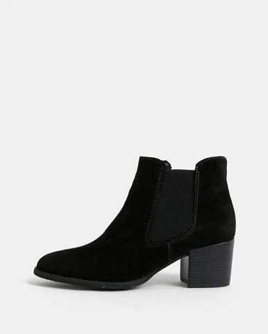 5e5899fa88 Čierne semišové chelsea topánky na podpätku Tamaris
