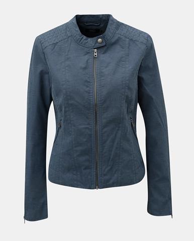 Modrá koženková bunda s detailmi v striebornej farbe ONLY Saga 7cc90d0fdb1