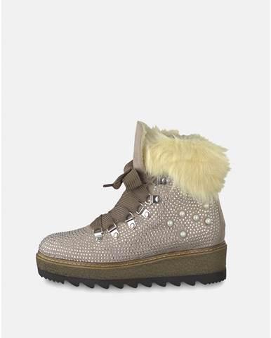 Béžové zimné topánky v semišovej úprave na platforme s ozdobnými kamienkami bc0f8a49d0