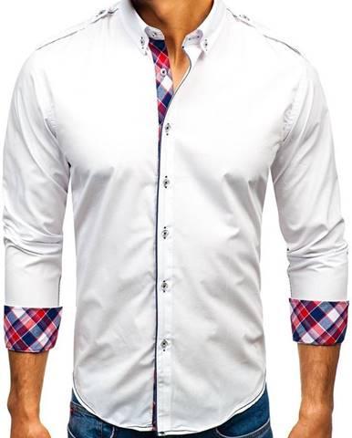 5bb52c198 Biela pánska elegantá košeľa s dlhými rukávmi