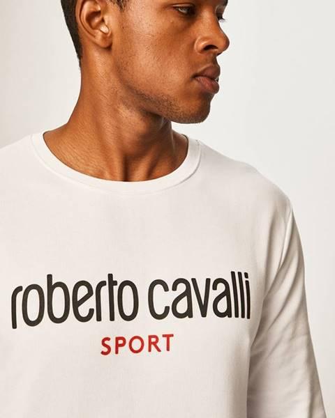 Biela bunda s potlačou Roberto Cavalli Sport