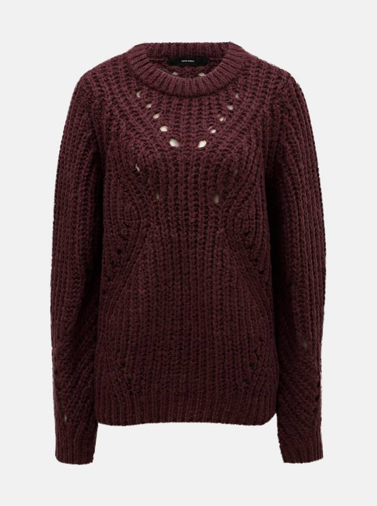 Vínový sveter so širokými o...