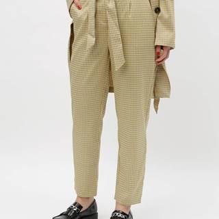 Béžové kockované nohavice s vysokým pásom VILA Faylinn