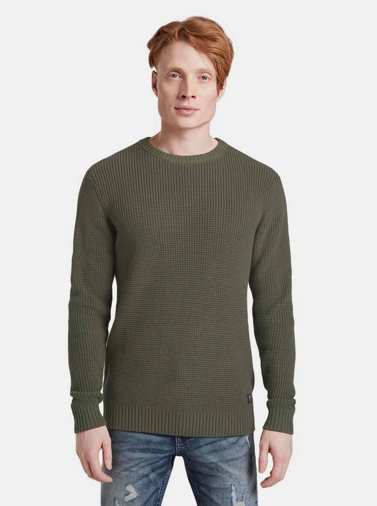 Tom Tailor Denim Kaki pánsky basic sveter Tom Tailor Denim