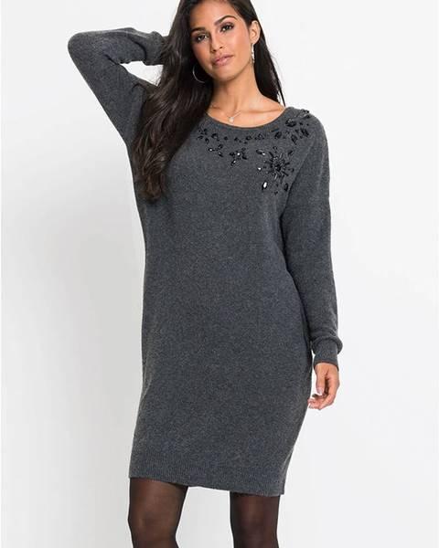 Sivé pletené šaty bonprix