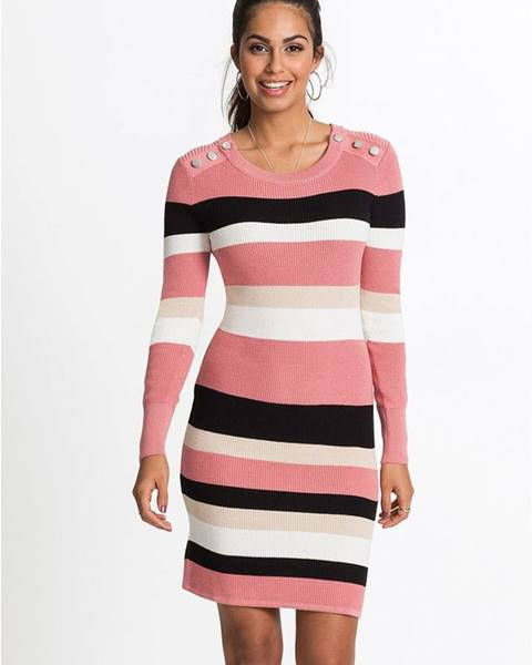 Ružové pletené šaty bonprix