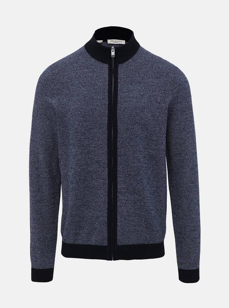 Selected Homme Modrý sveter na zips Selected Homme Fernando