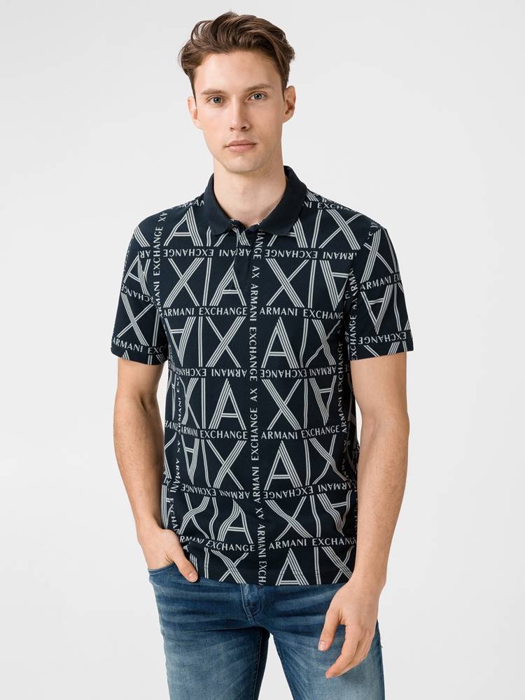 Armani Exchange Polo triko Armani Exchange Modrá