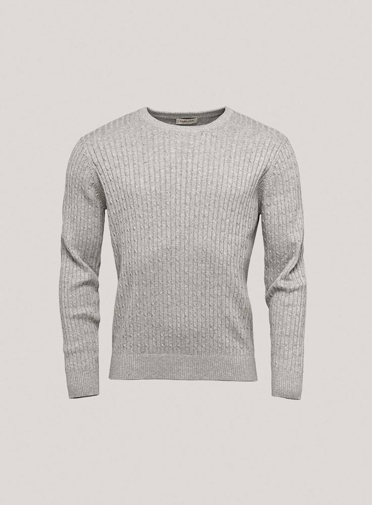 Pietro Filipi Pánsky bavlnený sveter s decentným vzorom  sivá