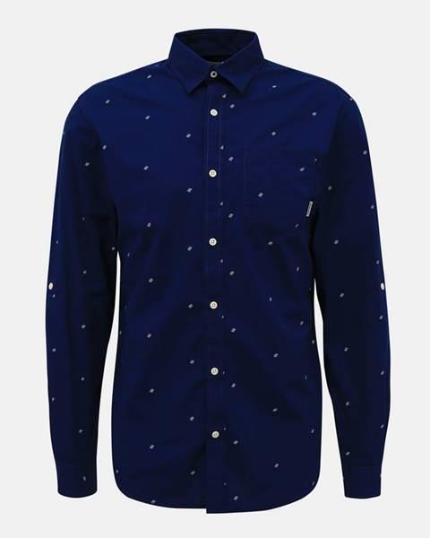Jack & Jones Tmavomodrá vzorovaná košeľa Jack & Jones Carlo