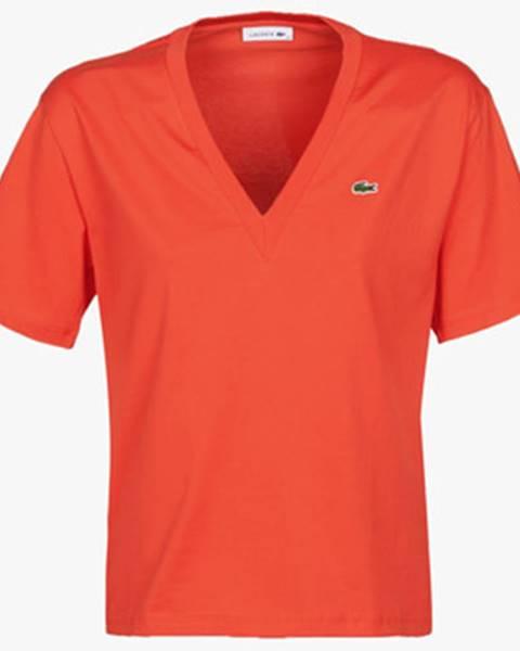 Oranžové tričko Lacoste