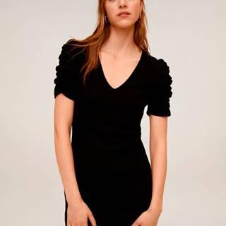 Čierne šaty Mango Frunce