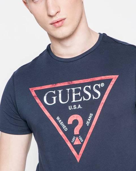 Tmavomodré tričko Guess Jeans