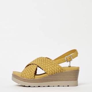 Horčicové sandálky na plnom podpätku Xti